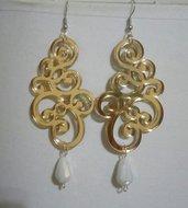 Maxi pendenti oro con gocce in cristallo briolette