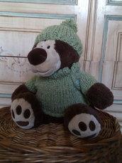 vestiti per orsacchiotto peluche completo in lana berretto e maglione verde -  giocattoli per bambina