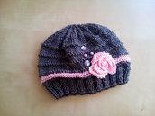 berretta lana bambina con rosa e ricami colori rosa grigio stile elegante romantico cuffia femmina - cappello fatto a mano