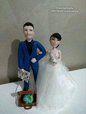 Cake topper sposi tema viaggi