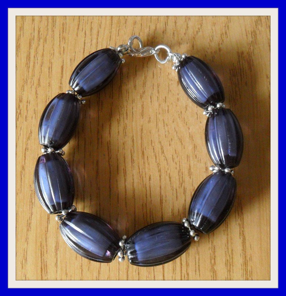 Bracciale perle ovali blu scuro