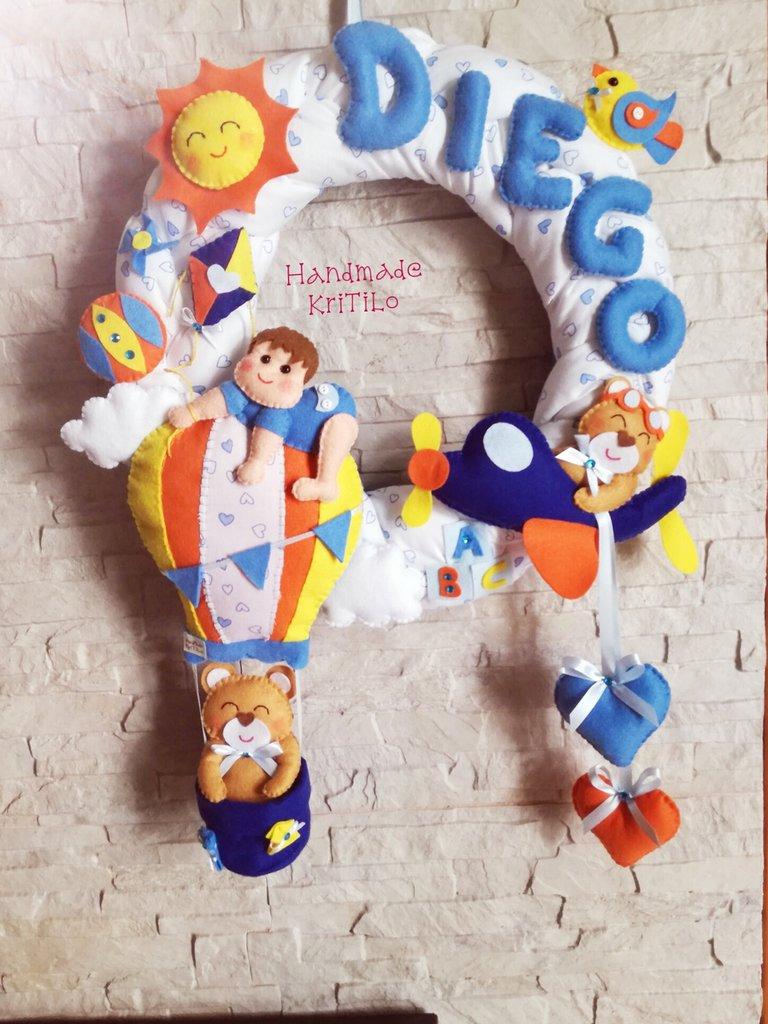 Fiocco nascita Handmade KriTiLo ghirlanda in cotone con bimbo su mongolfiera