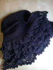 scialle coprispalle uncinetto lana fatto a mano marrone e ramatoa -  baktus in lana stile elegante