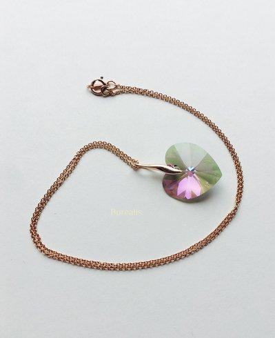 Cuore Cristallo Swarovski Tropicale Ciondolo Girocollo Argento 925 Rose Gold Filled 14k