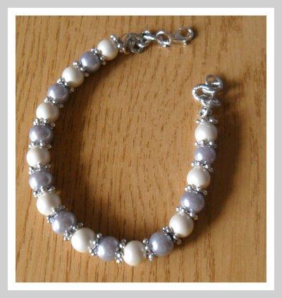 Bracciale grigio e bianco