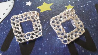 Copia perni rombo per orecchini in zama colore argento