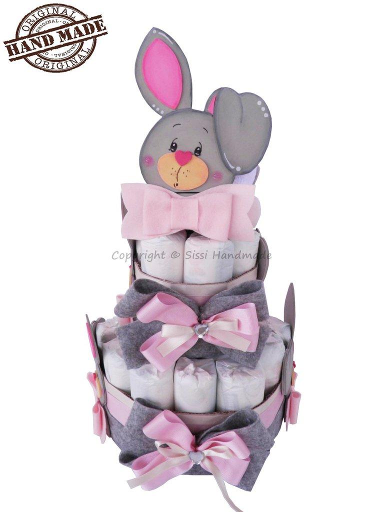TORTA DI PANNOLINI tg. 3 bambina, a tema coniglietti