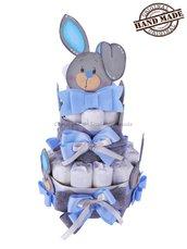 TORTA DI PANNOLINI tg. 3 bambino, a tema coniglietti