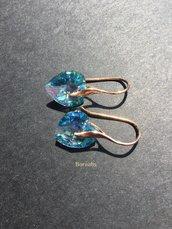 Orecchini Cuore Cristallo Swarovski Acquamarina Aurora Boreale Argento 925 Placcato Oro Rosa