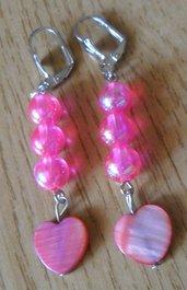 Bambina,orecchini rosa con pendente cuore