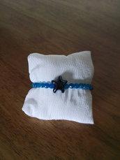Bracciale stella ceramica e pietre blu