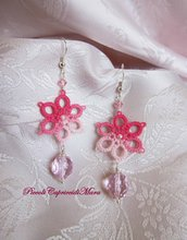Orecchini rosa al chiacchierino, cristalli e perline rosa