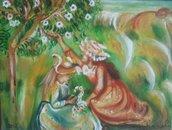 capolavoro!originale d'autore,due ragazze che raccolgono i fiori firmato Antonio Cariola