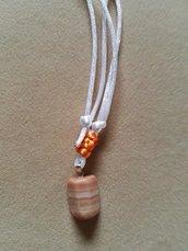 collana uomo ciondolo agata striata arancione