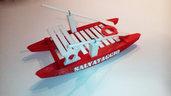 Moscone Pattino di salvataggio Modellino realizzato in materiale plastico con scritta incisa su opera morta