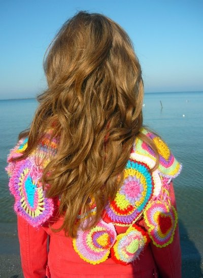 Freeform crochet shawl Beautiful Rainbow