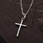 Collana per donne  color argento argento con pendente Croce