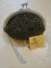 Pochette nera con inserti in lurex, da cerimonia
