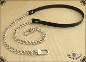Tracolla per borsa lunga cm.85 - similpelle nera impunturata, catena e moschettoni argento