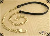 Tracolla per borsa lunga cm.85 - similpelle nera impunturata, catena e moschettoni oro
