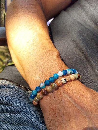 Bracciali uomo con pietre dure (agata blu striata/unakite e occhio di falco)