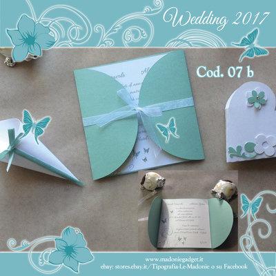 Partecipazione Matrimonio tiffany perlato & farfalle con strass - Cod. 07b