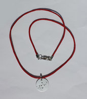 Collana con pendente costellazione della Vergine e cordoncino rosso
