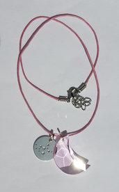 Collana con pendente costellazione dello zodiaco Leone, Swarovski mezzaluna rosaline