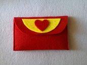 portafogli portamonete in feltro rosso e giallo
