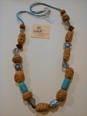 Collana con resina effetto legno e argentone, cordoncino cerato