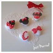 segnaposto primo compleanno, battesimo, bimba, confetti decorati a tema Minnie Mouse in rosso