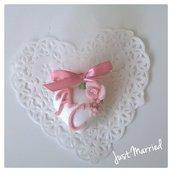 segnaposto per matrimonio, confetti decorato, rosa cipria
