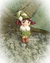 Elfo folletto ragazza ciondolo decorazione albero Natale regalo