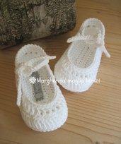 Scarpine ballerine neonata/bambina bianco/trafori - uncinetto - puro cotone - Battesimo/cerimonia