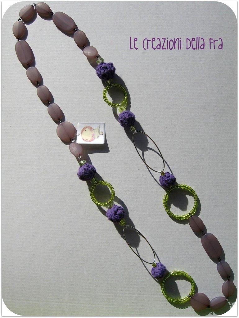 """Collana """"perle di maglina"""" viola"""