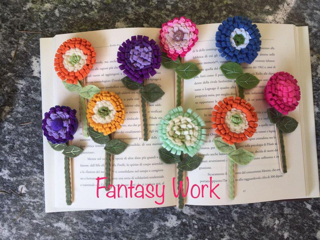 segnalibro fiore su bastoncino di legno