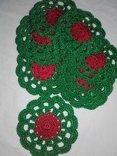 10 Sottobicchieri centrino 10 cm idea Natale, decorazione casa fatti all'uncinetto, cotone