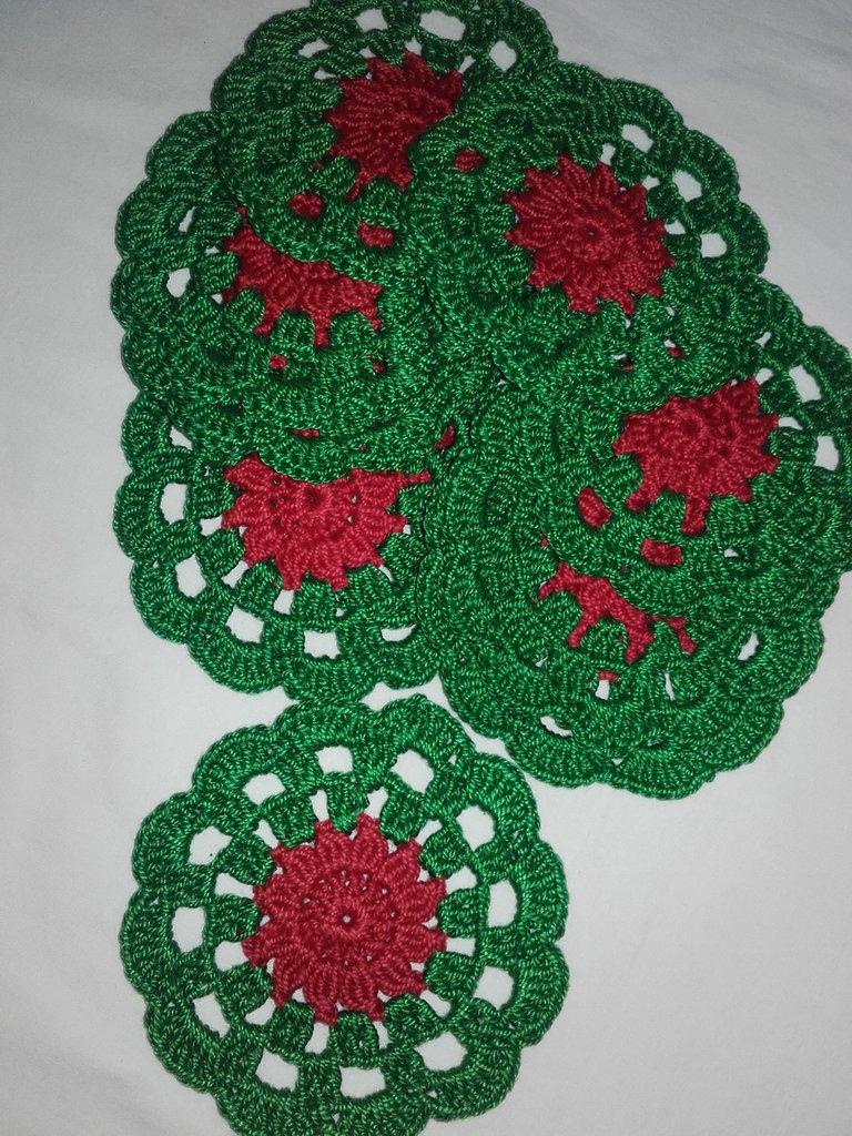 Conosciuto 10 Sottobicchieri centrino 10 cm idea Natale, decorazione casa  XQ92