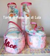 Torta di Pannolini 50 Pampers Baby Dry sandali tacco scarpe décolleté sconto 15%