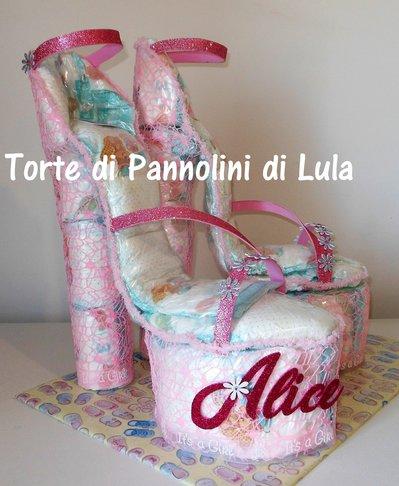 Torta di Pannolini grande femmina Pampers Baby Dry sandali tacco scarpe decollete rosa femmina principessa donna