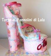 Torta di Pannolini bambina 50 Pampers Baby Dry sandali tacco scarpe decollete