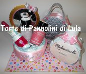 Torta di pannolini grande Pampers Baby Dry Trousse + Borsa + Profumo nascita baby shower
