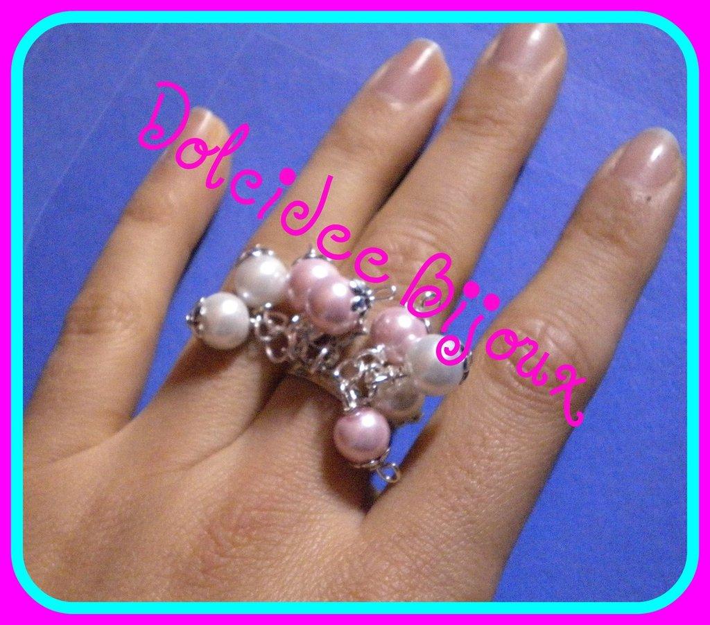 anello charms rosa