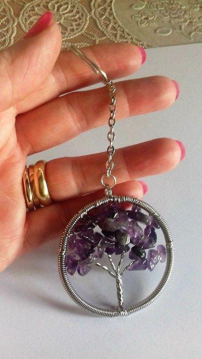 Portachiavi ciondolo albero della vita in vera ametista pietra dura naturale chakra cristalloterapia
