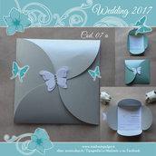 Partecipazione Matrimonio cartoncino argento perlato & farfalla - Cod. 07a
