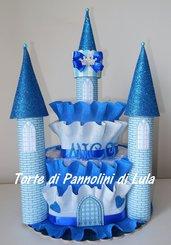 Torta di Pannolini Pampers Castello - idea regalo, originale ed utile, per nascite, battesimi