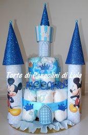 Torta di Pannolini Pampers Castello - idea regalo, originale ed utile nascita battesimo