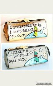"""Astuccio Portapenne """"Il piccolo Principe"""" Vera Pelle"""