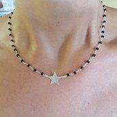 Collana rosario in ottone con stella e chiusura in argento925