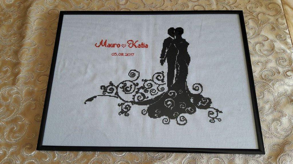 Quadro Oggi Sposi Feste Matrimonio Di Punto Croce Lulu Su